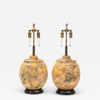 Pair of Large Italian Ceramic Lamps with a Scavo Glazed Finish