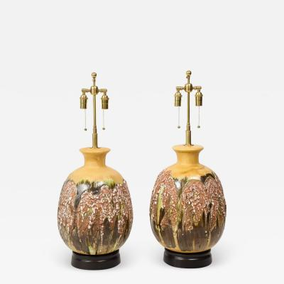Pair of Large Italian Volcanic Glazed ceramic Lamps