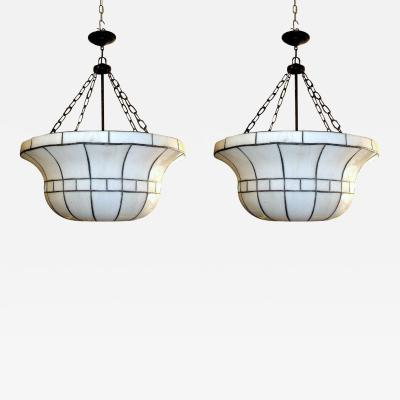 Pair of Large Leaded Glass Fixtures