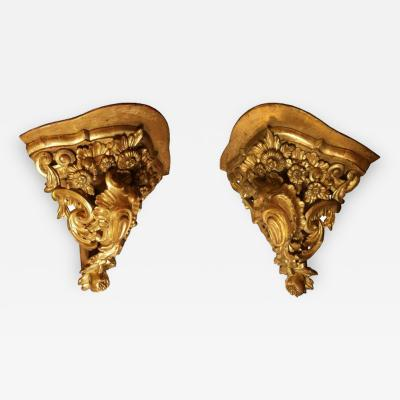 Pair of Large Mid 18th Century Venetian Rococo Gilt Corner Brackets
