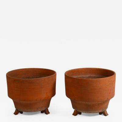 Pair of Large Midcentury Unglazed Terracotta Planters on Stands