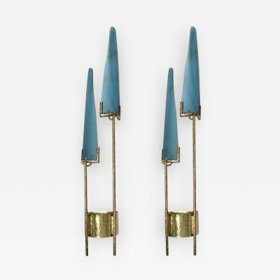 Pair of Large Moderne Glass and Bronze Sconces