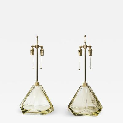 Pair of Large Murano Diamond Faceted Citrine Glass Lamps Contemporary