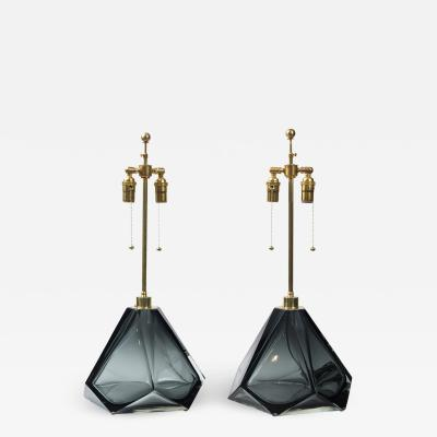 Pair of Large Murano Diamond Faceted Grey Glass Lamps Contemporary
