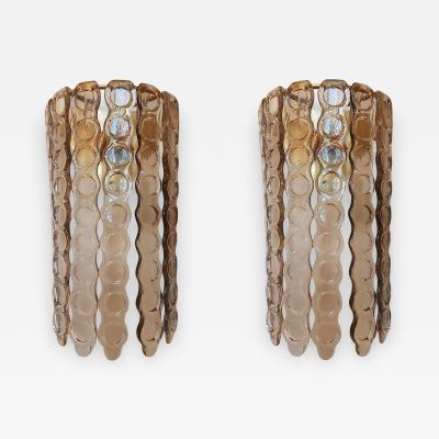 Pair of Large Murano Light Smoked Textured Glass Sconces Mid Century Modern