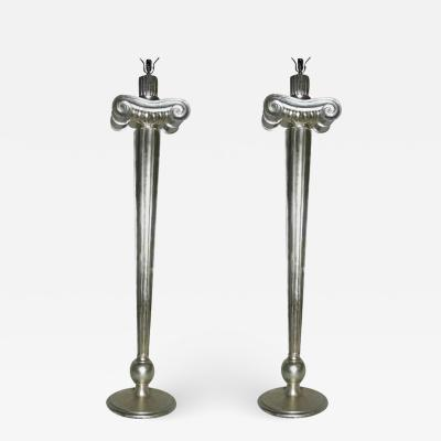 Pair of Large Neoclassic Silver Floor Lamps