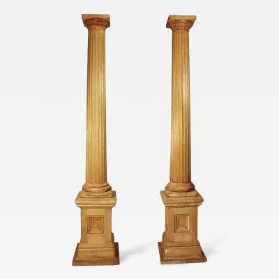 Pair of Large Pine Classical Columns 19th Century