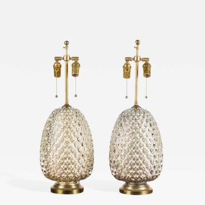 Pair of Large Pineapple Mercury Glass Lamps