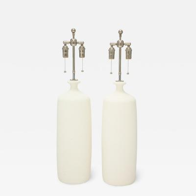 Pair of Large Popcorn Textured Ceramic Lamps