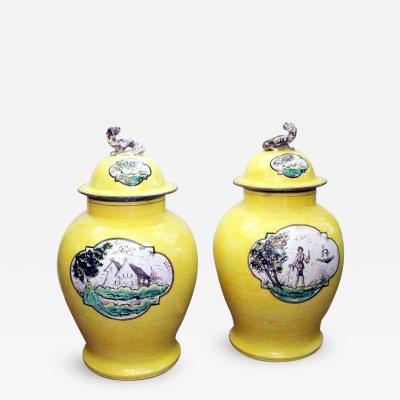 Pair of Large Quimper Style Hand Painted Lidded Jars