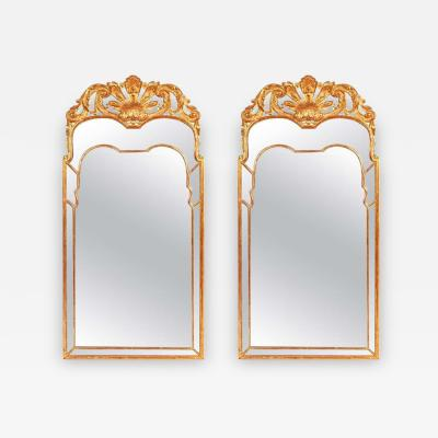 Pair of Large Regency Style Giltwood Mirrors with Foliate Crest Shaped Plate