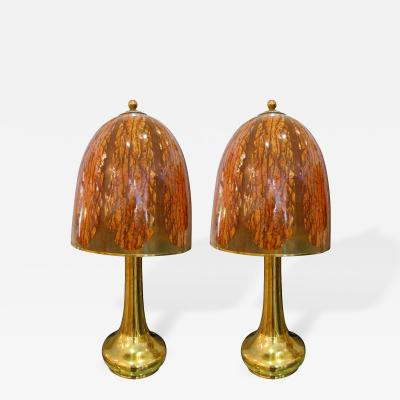 Pair of Large Scale Bamboo Brass and Resin Lamps