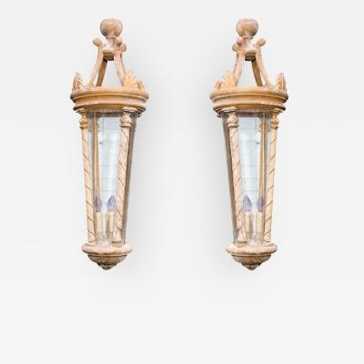 Pair of Large Scale French Artisan Crafted Wood and Glass Lanterns