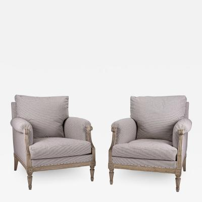 Pair of Large Scale Painted Bergere Armchairs in Ticking
