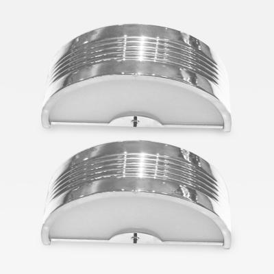Pair of Large Semi Circular Nickel Plated Sconces with White Glass Inserts