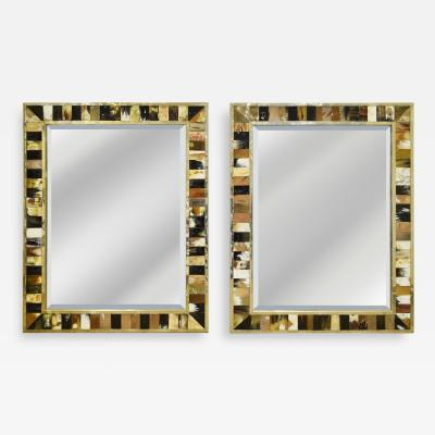 Pair of Large Wall Hanging Mirrors in Horn with Brass Trim 1970s