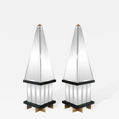 Pair of Large and Impressive Mirrored Obelisks