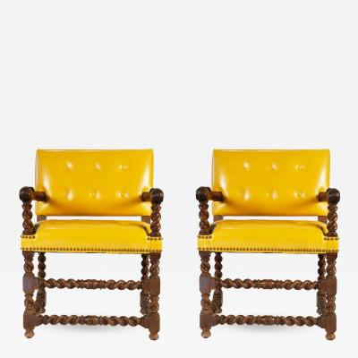 Pair of Late 17thc English Open Armchairs with Modern Leather Upholstery