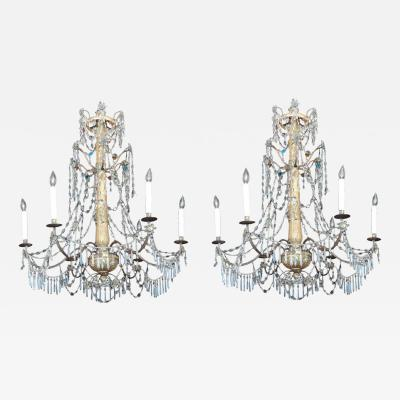 Pair of Late 18th C Italian Genovese Chandeliers