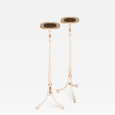 Pair of Late 18th Century White Painted and Parcel Gilt Candle Stands