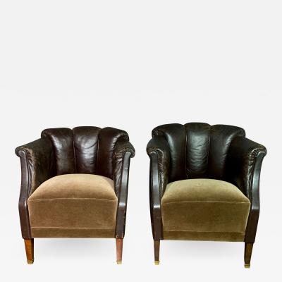 Pair of Late 1930s Channel Back Leather Club Chairs