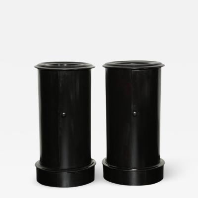 Pair of Late 19th Century Ebonized Mahogany Cylinder Pedestal Cabinets