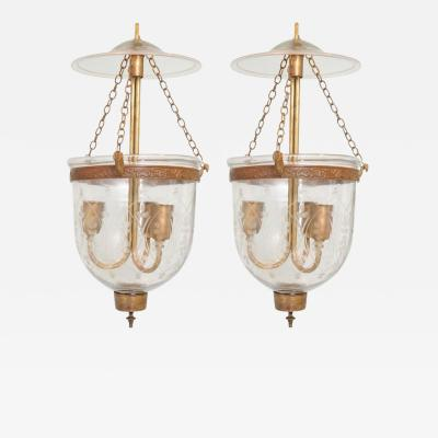 Pair of Late 19th Century English Bell Jar Hall Lanterns with Smoke Cap