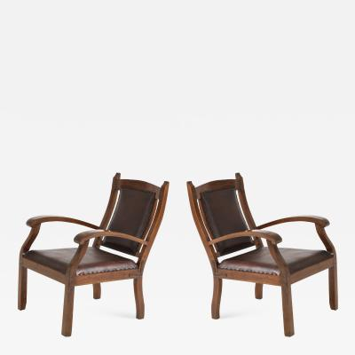 Pair of Late 19th Century Teak Chairs with Leather Upholstery