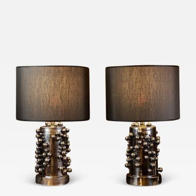 Pair of Late 20th Century Black Iridescent Earthenware Table Lamps with Shades
