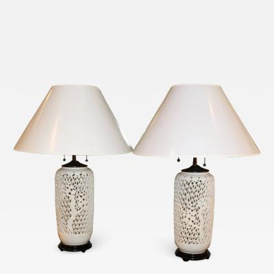 Pair of Late 20th Century Reticulated White Porcelain Lamps on Hardwood Bases