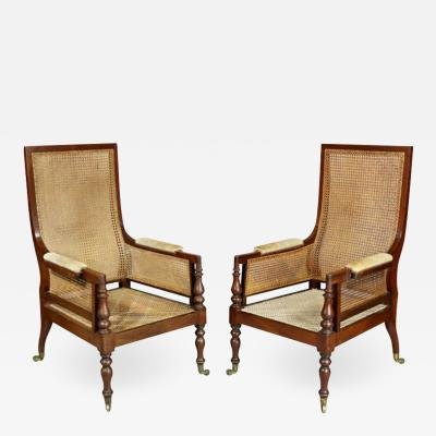 Pair of Late Regency Mahogany and Caned Armchairs