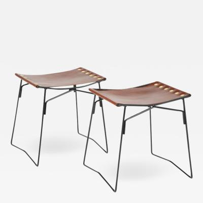 Pair of Leather Stools with Riveted Slings