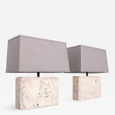 Pair of Limestone Table Lamps