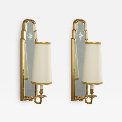 Pair of Long Mirrored Back Sconces