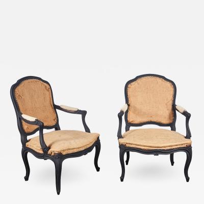 Pair of Louie XV Style Chairs in Matt Black