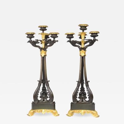 Pair of Louis Philippe Bronze and Ormolu Candelabra c 1840