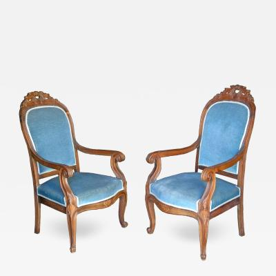 Pair of Louis Philippe Walnut Armchairs