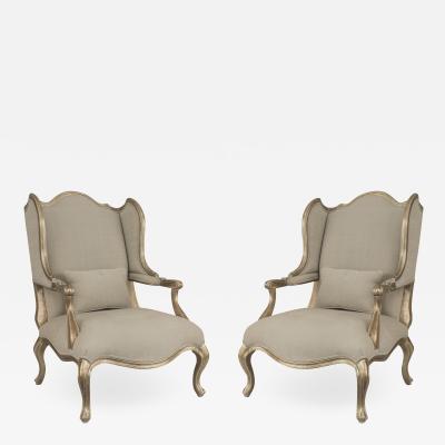 Pair of Louis XV Gilt Wing Berga Chairs