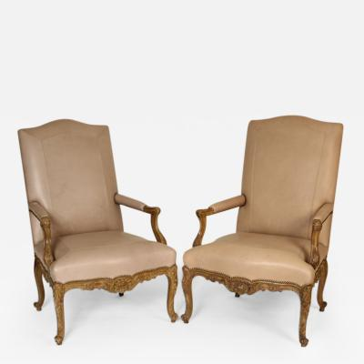 Pair of Louis XV Leather Upholstered Occasional Chairs