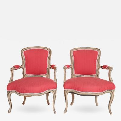 Pair of Louis XV Painted Fauteuils