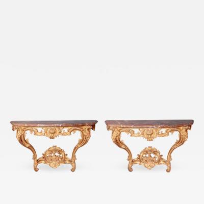 Pair of Louis XV Period Wall Mount Console Tables circa 1740
