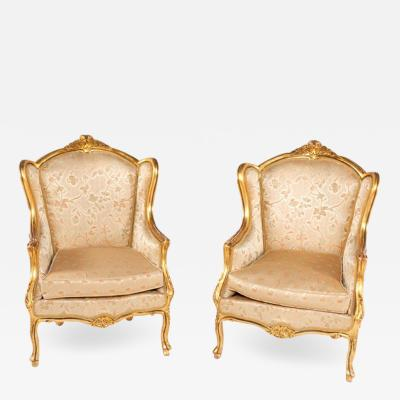 Pair of Louis XV Style Armchairs in Golden Painted