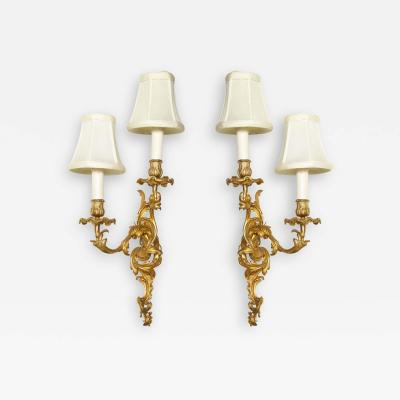 Pair of Louis XV Style Bronze Two Light Sconces