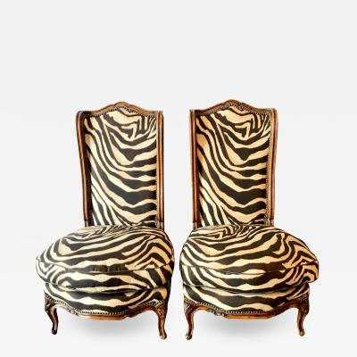 Pair of Louis XV Style Carved Walnut Chauffeuses