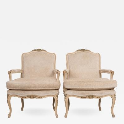 Pair of Louis XV Style Cr me Peinte and Gold Gilt Fauteuils