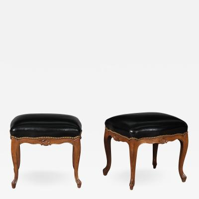 Pair of Louis XV Style Fruitwood Stools
