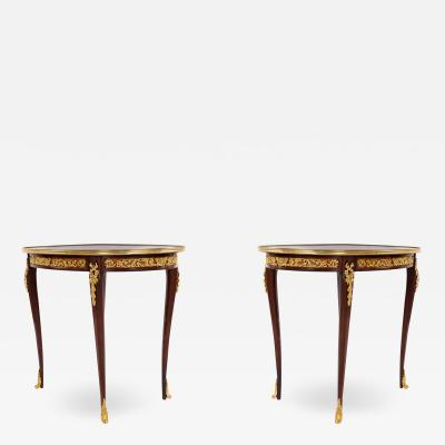 Pair of Louis XV Style Gilt Bronze Mounted Side Tables