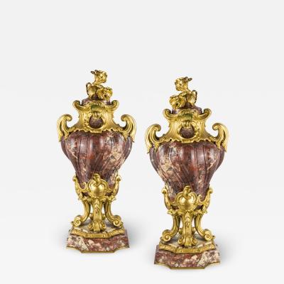 Pair of Louis XV Style Gilt Bronze Mounted and Fleur de P cher Marble Cassolets