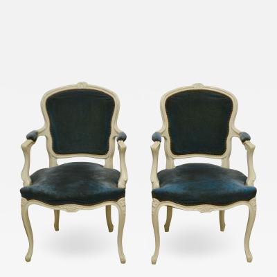 Pair of Louis XV Style Upholstered Armchairs