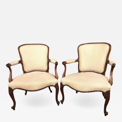 Pair of Louis XV Style Walnut Fauteuils or Berg res in a Scalamandre Fabric